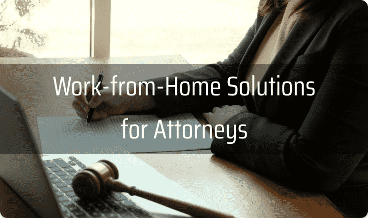 lawyer shown working from home on a laptop